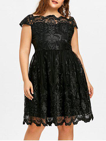 Cheap Lace Scalloped Plus Size Tulle Dress