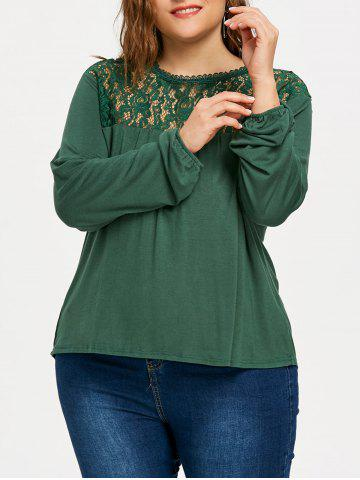 Best Plus Size High Low Lace Panel T-shirt