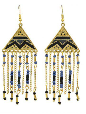 Shops Metalline Triangle Fringed Bead Decorated Drop Earrings
