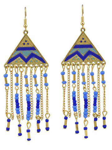 Outfits Metalline Triangle Fringed Bead Decorated Drop Earrings