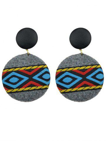 Best African Print Embroidery Circle Dangle Earrings