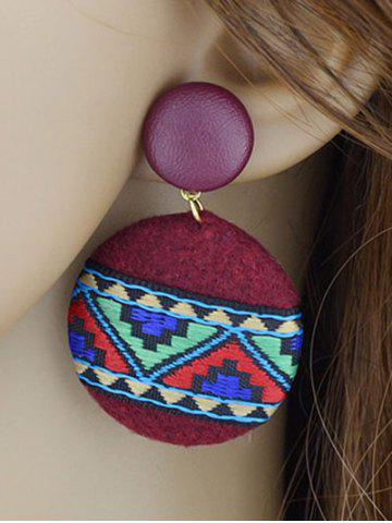 Cheap African Print Embroidery Circle Dangle Earrings