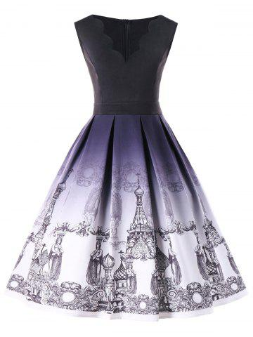 Sale Plus Size Scalloped Neck Church Print Vintage Dress