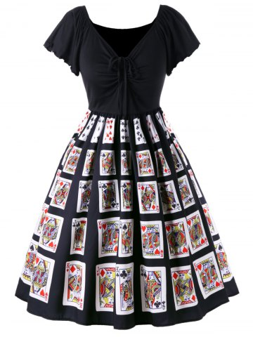 Trendy Plus Size Playing Card Print Retro Dress