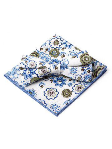 Unique Floral Pattern Printed Bowtie Square Handkerchief Set