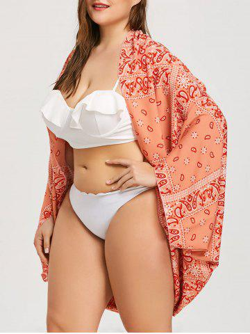 Trendy Plus Size Printed Chiffon Beach Cover Up