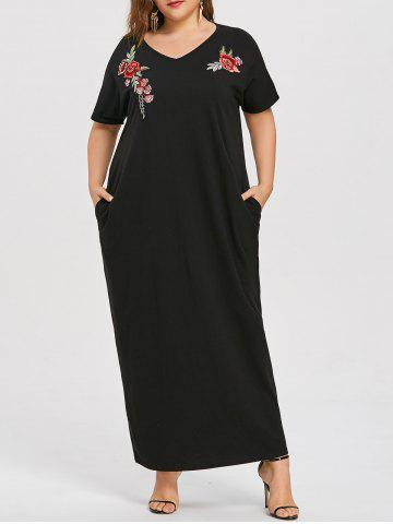Trendy Embroidered Plus Size Long Causal Dress