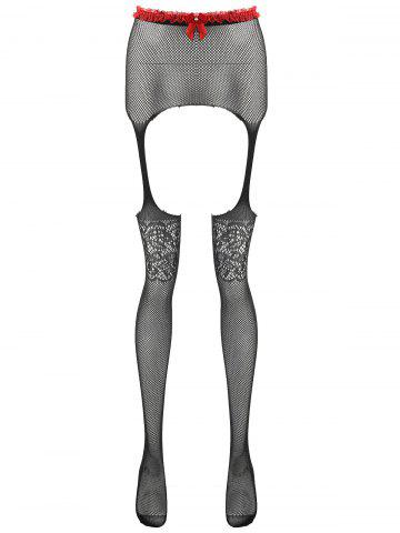Affordable Lace Trim Crotchless Fishnet Tights