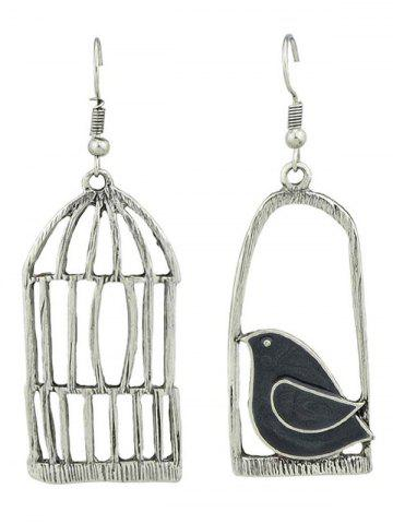 Outfits Alloy Bird Cage and Enamel Bird Dangle Earrings