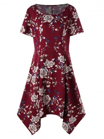 Hot Plus Size Floral Print Baggy Dress