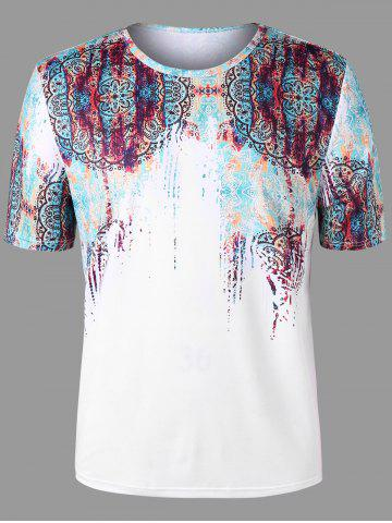 Affordable Plus Size Short Sleeve Scrawl Print T-shirt
