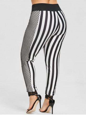 Outfit Plus Size Striped Fishnet Panel Pants