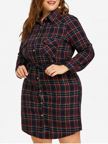 Hot Plus Size Plaid Pocket Shirt Dress
