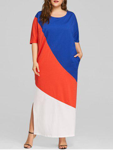 Sale Hit Color Plus Size Slipt Maxi Dress