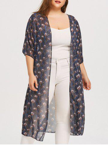 Affordable Plus Size Peacock Feather Print Kimono