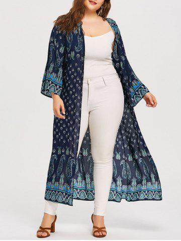 Fancy Plus Size Paisley Print Drop Shoulder Kimono