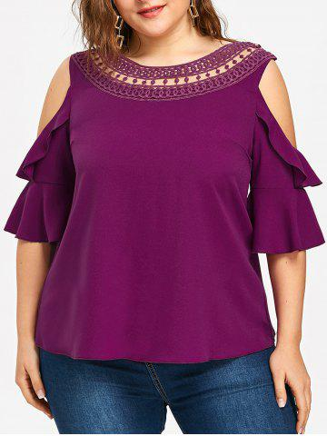Cheap Plus Size Cold Shoulder Lace Trimmed Top