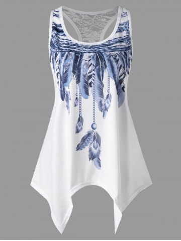 Trendy Handkerchief Feather Print Racerback Tank Top