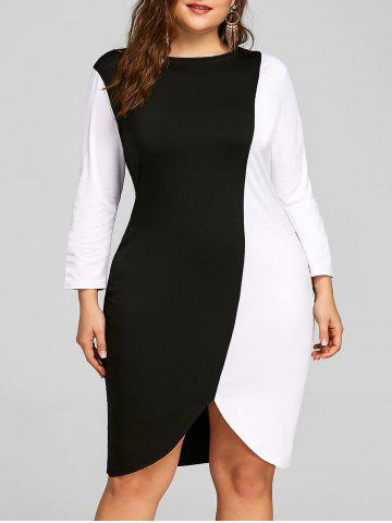 Discount Color Block Plus Size Sheath Dress
