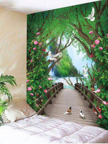 Buy Flowers Forest Bridge Wall Hanging Tapestry