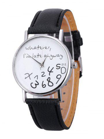 Письма Face Faux Leather Strap Watch