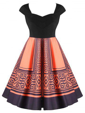 Chic Plus Size Tribal Print Sweetheart Neck Vintage Dress