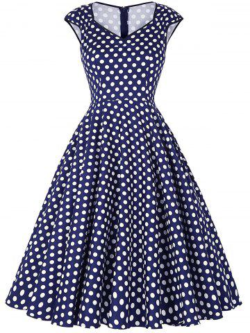 New Polka Dot Cap Sleeve Party Dress