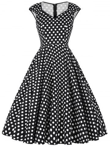 Chic Polka Dot Cap Sleeve Party Dress