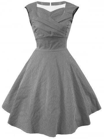 Outfits Striped Cap Sleeve Party Dress