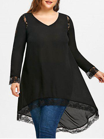 Cheap Plus Size Lace Insert High Low Top