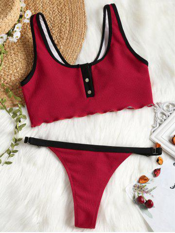 Latest Ribbed Piping Faux Button Sporty Bikini Set