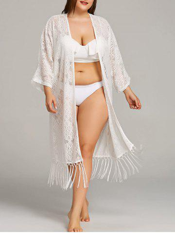 Affordable Plus Size Lace Fringe Embellished Cover Up