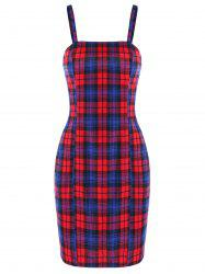 Spaghetti Strap Plaid Mini Party Dress -