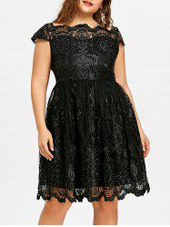 Lace Scalloped Plus Size Tulle Dress -