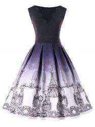 Plus Size Scalloped Neck Church Print Vintage Dress -