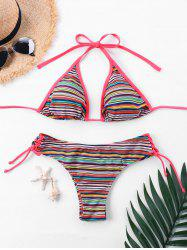 Lace Up Halter Striped Bikini Set -