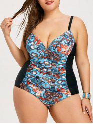 Plus Size Underwire Ruched Print Swimsuit -