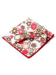 Floral Pattern Printed Bowtie Square Handkerchief Set -