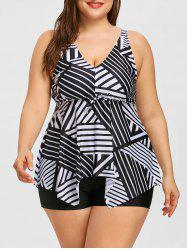 Plus Size Asymmetrical Striped Empire Waist Tankini Set -