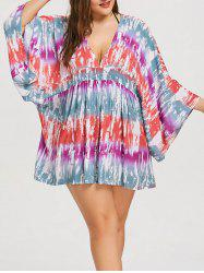 Plus Size Tie Dye Plunge Cover Up Dress -