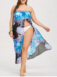 Plus Size Slit Strapless Cover Up -