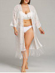 Plus Size Lace Fringe Embellished Cover Up -