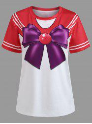 Striped Sleeve Faux Bow Tie Tee -