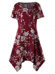 Plus Size Floral Print Baggy Dress -