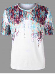 Plus Size Short Sleeve Scrawl Print T-shirt -