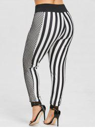 Plus Size Striped Fishnet Panel Pants -