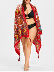 Zigzag Floral Print Tassel Beach Throw -