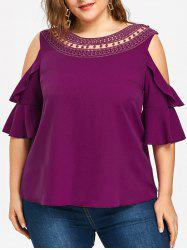 Plus Size Cold Shoulder Lace Trimmed Top -