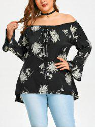 Plus Size Off Shoulder Chrysanthemum Print Blouse -