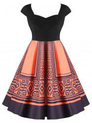 Plus Size Tribal Print Sweetheart Neck Vintage Dress -
